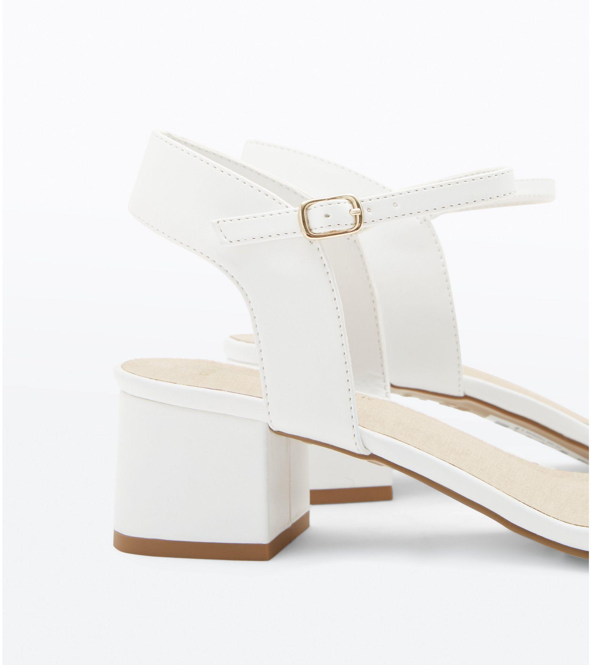 b7d18e2ec830 New Look Wide Fit White Comfort Flex Block Heel Sandals at £22.99 ...