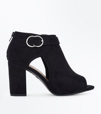 Wide Fit Black Comfort Flex Ring Side Heels