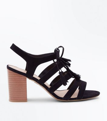 Wide Fit Black Suedette Tassel Ghillie Heels