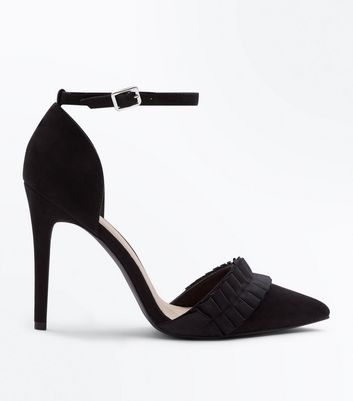 Wide Fit Black Frill Front Suedette Heels by New Look