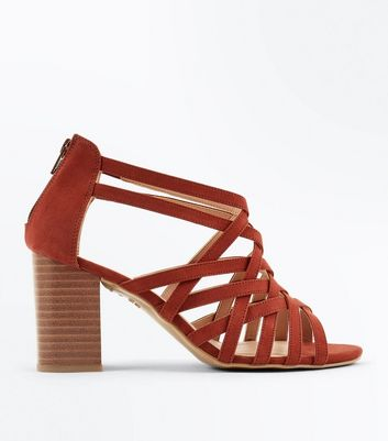 Wide Fit Rust Suedette Woven Strappy Heels
