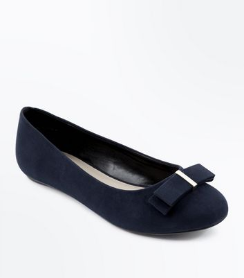 Extra Wide Fit Navy Suedette Bow Ballet Pumps