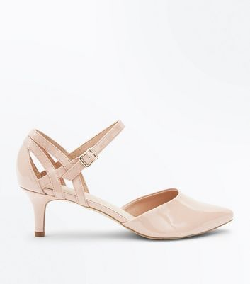 Wide Fit Nude Comfort Flex Patent Pointed Kitten Heels