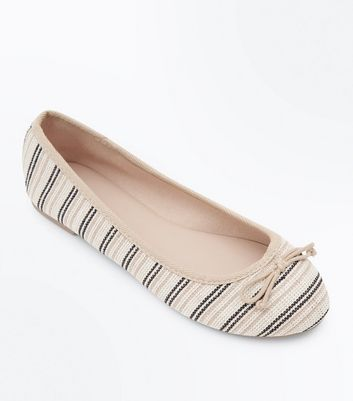 Wide Fit Cream Stripe Canvas Ballet Pumps