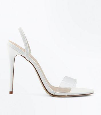 White Clear Strap Slingback Stiletto Heels