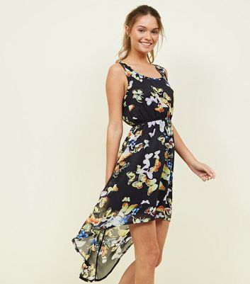 Mela Black Butterfly Print Chiffon Dip Hem Dress