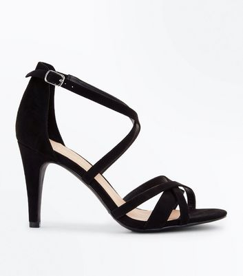 Black Suedette Multi Strap Stiletto Heels