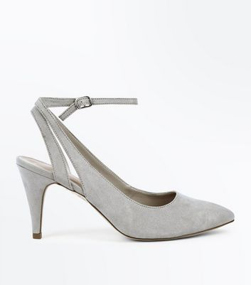 Grey Suedette Cut-Out Ankle Strap Courts