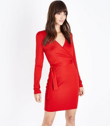 Blue Vanilla Red Wrap Front Long Sleeve Dress
