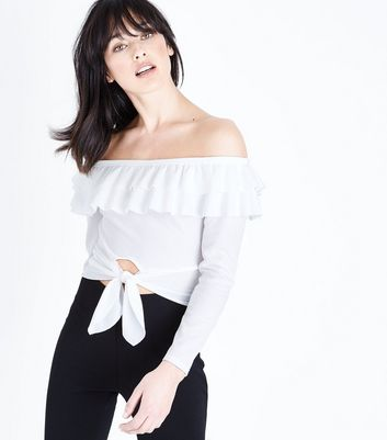 Cream Tie Front Double Frill Bardot Top