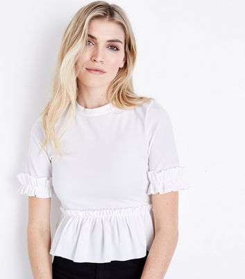 Cream Crepe Frill Trim T-Shirt