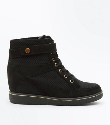 Black Mesh Panel High Top Wedge Trainers