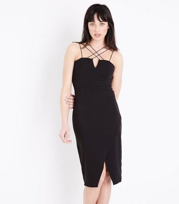 Black Strappy Asymmetric Wrap Midi Dress