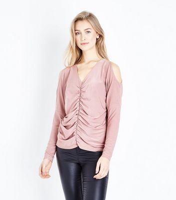 Pale Pink Ruched Front Cold Shoulder Top