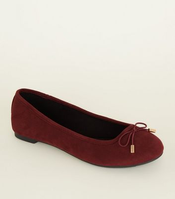 Dark Red Suedette Bow Ballet Pumps