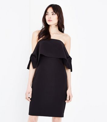 Black Bow Side Bardot Dress