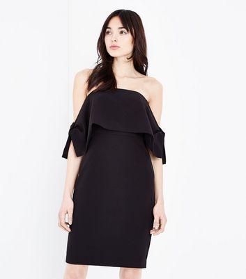 Black Bow Side Bardot Dress by New Look