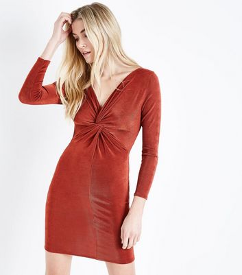 Rust Twist Front Long Sleeve Dress