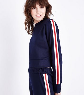 Cameo Rose Navy Stripe Sleeve Sweatshirt
