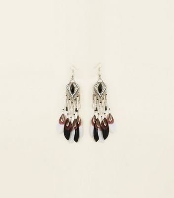 Black Feather Drop Earrings