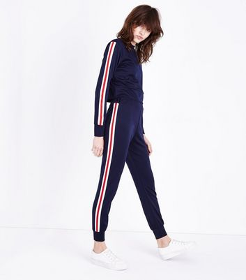 Cameo Rose Navy Stripe Side Joggers