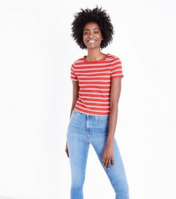 Red Stripe Ribbed T-Shirt
