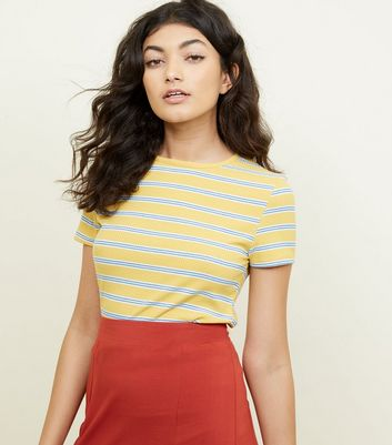 Mustard Stripe Ribbed T-Shirt