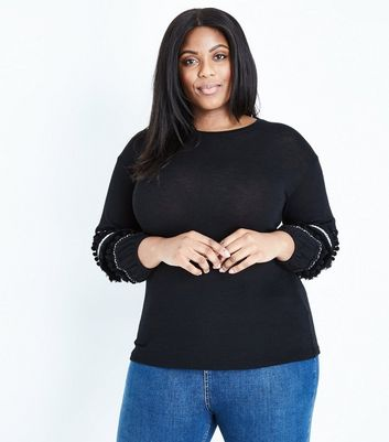 Curves Black Pom Pom Fringe Trim Jumper
