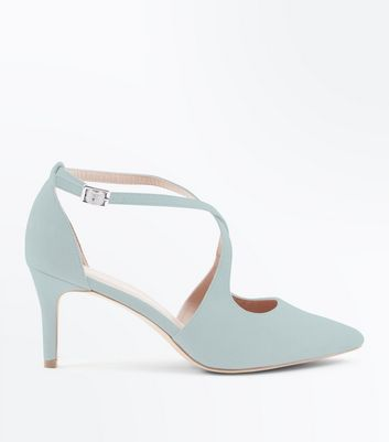 Wide Fit Mint Green Suedette Cross Strap Heels