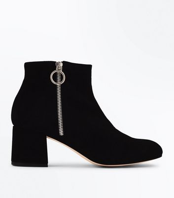 Black Premium Suede Ring Zip Ankle Boots
