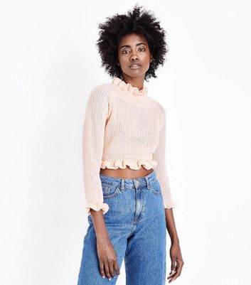 Cameo Rose Pale Pink Frill Trim Crop Jumper