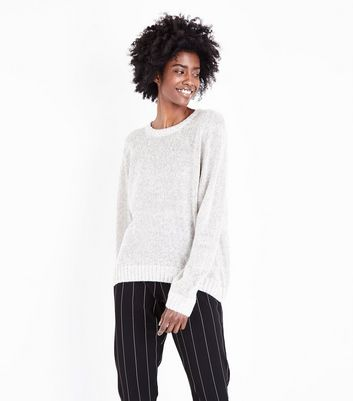 Pale Grey Drop Shoulder Jumper
