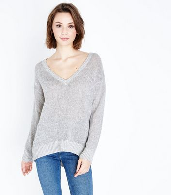 Pale Grey V Neck Jumper
