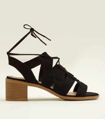 Teens Black Suedette Block Heel Gladiator Sandals
