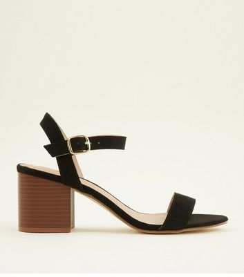 Teens Black Wood Block Heel Sandals