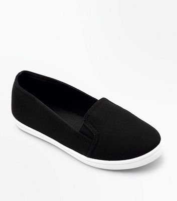 Teens Black Slip On Trainers by New Look