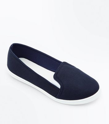 Girls Navy Slip-On Trainers