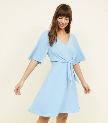 Bright Blue Tie Front Flutter Sleeve Dress