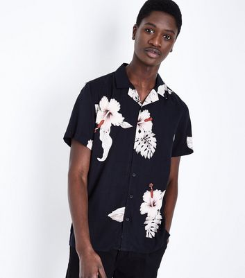 Black Large Floral Print Short Sleeve Shirt
