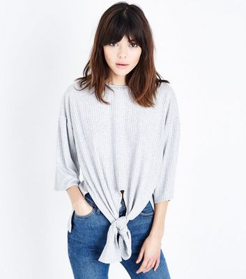 Grey Marl Ribbed Tie Front Top by New Look