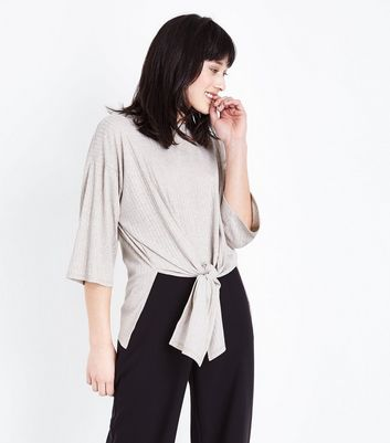 Stone Marl Ribbed Tie Front Top
