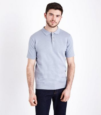 Pale Blue Knitted Polo T-Shirt