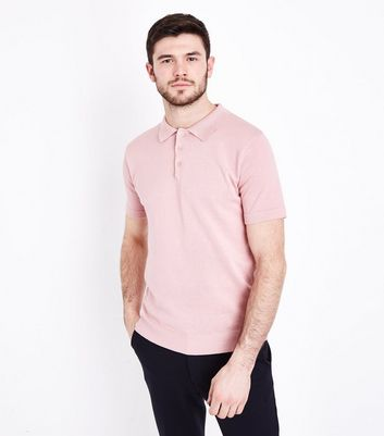 Pink Blue Knitted Polo Shirt