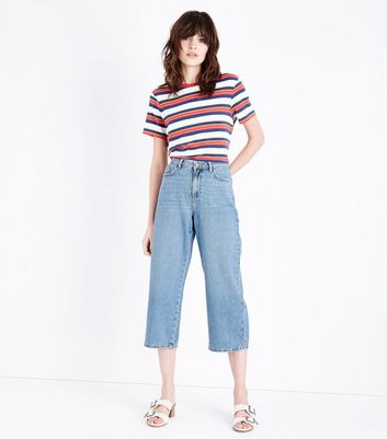 Blue Light Wash Cropped Wide Leg Jeans