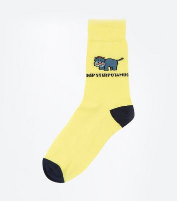 Yellow Hipsterpotamus Dinosaur Slogan Socks