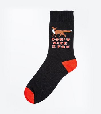 Black Don't Give 2 Fox Slogan Socks