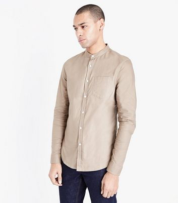 Stone Grandad Collar Oxford Shirt