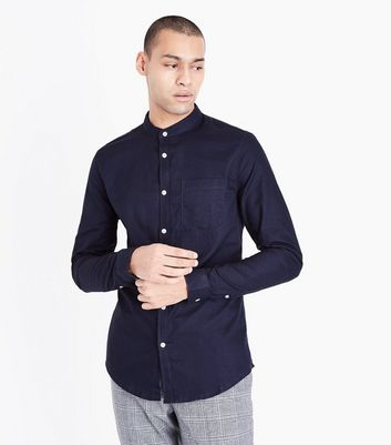 Navy Grandad Collar Oxford Shirt