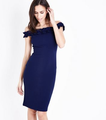 Ax Paris Navy Bardot Neck Frill Bodycon Dress by New Look