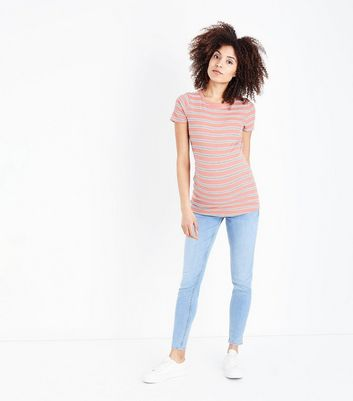 Maternity Pale Blue Split Hem Over Bump Skinny Jeans